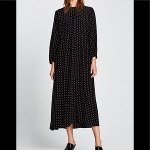 Zara Woman Black Polka Dot Button Front Dress